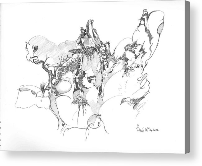 Abstract Acrylic Print featuring the drawing Abstract forms by Padamvir Singh