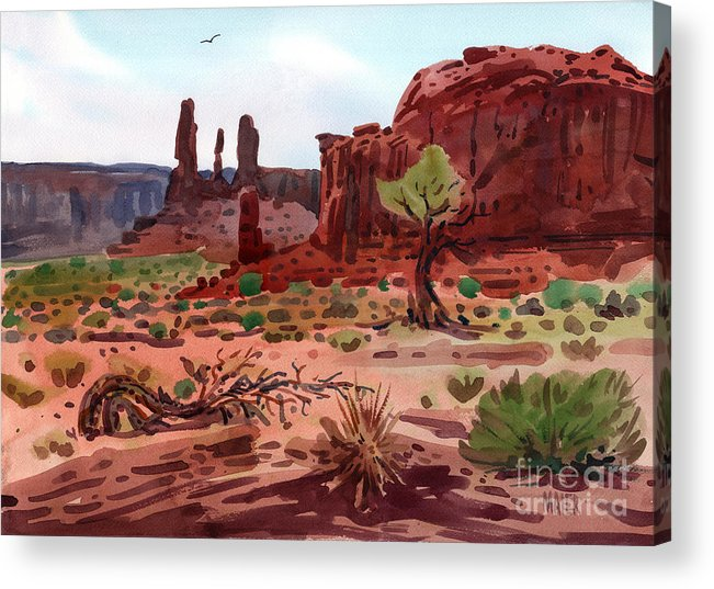 Monument Valley Acrylic Print featuring the painting Afternoon In Monument Valley by Donald Maier