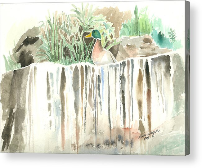 Waterfall Acrylic Print featuring the painting Atop The Waterfall by Arline Wagner