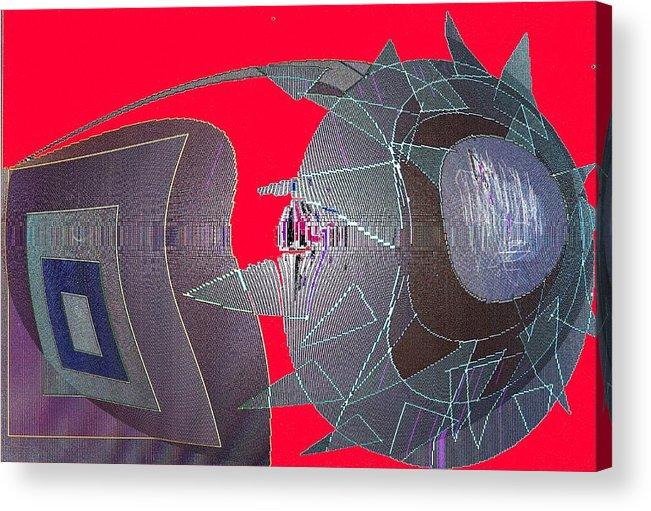Digital Acrylic Print featuring the digital art Attack by Ian MacDonald