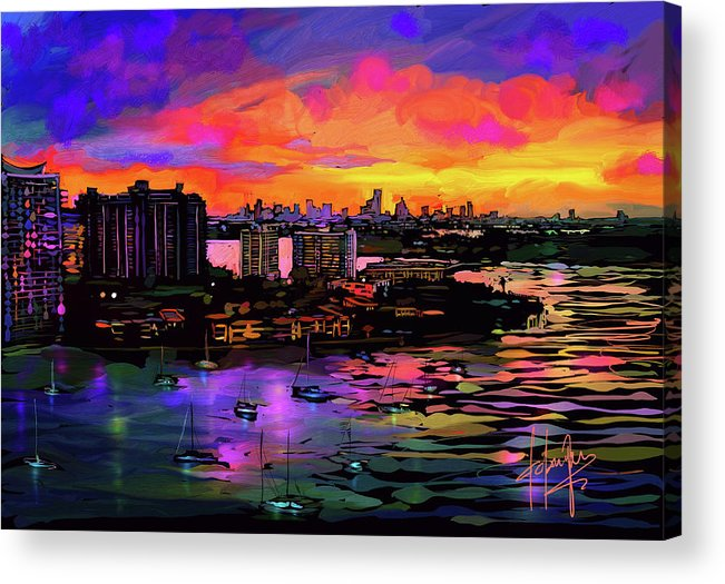Biscayne Bay Acrylic Print featuring the painting Biscayne Bay, Miami by DC Langer