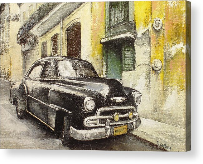 Car Acrylic Print featuring the painting Black cadillac by Tomas Castano