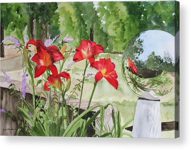 Flowers Acrylic Print featuring the painting Blue Sky Reflections by Jean Blackmer