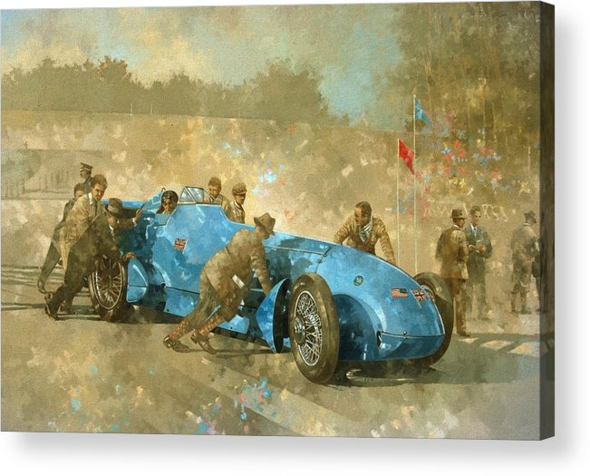 Car; Race Car; Vehicle; Racing; Track; Racetrack; Race Track; Vintage; Racer; Blue; Team; Pushing; Sportscar; Land Speed Test Acrylic Print featuring the painting Bluebird by Peter Miller
