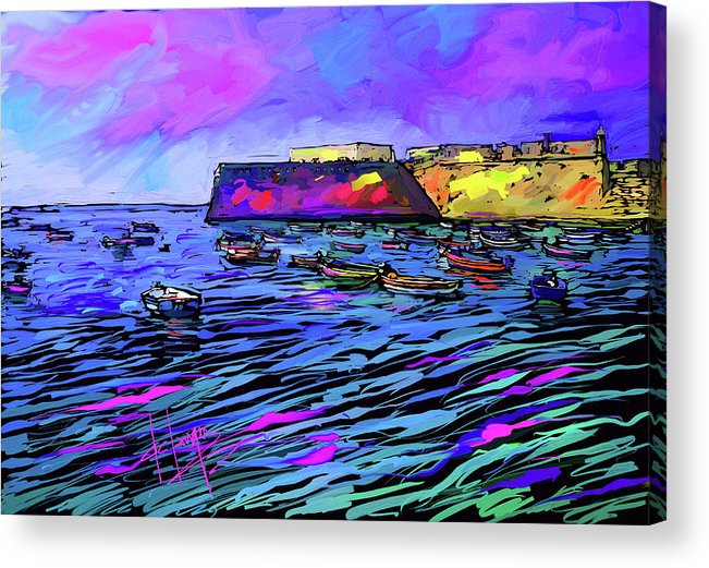 Boats Acrylic Print featuring the painting Boats In Cadiz, Spain by DC Langer
