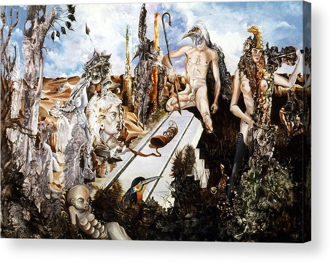 Surrealism Acrylic Print featuring the painting Bogomils Court by Otto Rapp