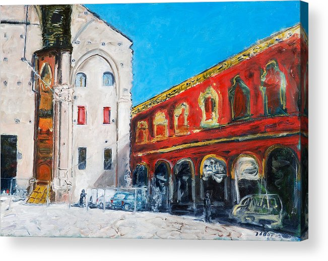 Cityscape Square Church Gallery White Red Blue Sky Acrylic Print featuring the painting Bologna Plaza by Joan De Bot