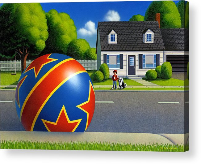 Boy And Ball Acrylic Print featuring the painting Boy and the Ball by Robin Moline