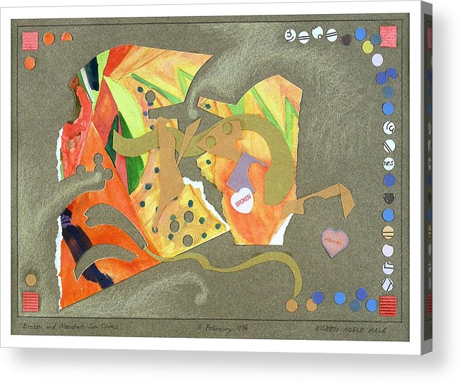 Collage Acrylic Print featuring the mixed media Broken and Mended by Eileen Hale