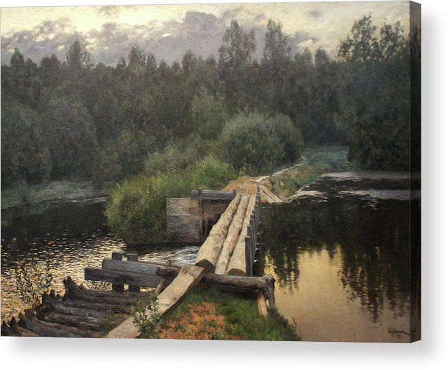 Isaac Levitan Acrylic Print featuring the painting By the Whirlpool by Isaac Levitan