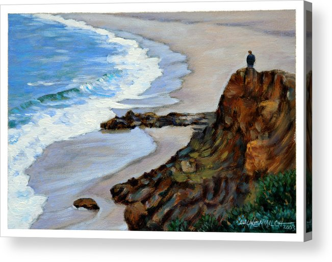 Landscape Acrylic Print featuring the painting California off Hwy One by John Lautermilch