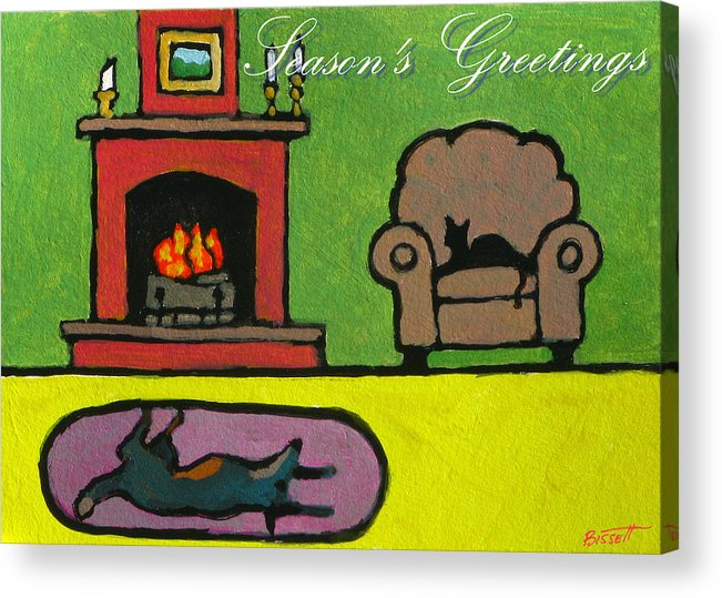 Greeting Acrylic Print featuring the painting Cat n Dog by Fire Card by Robert Bissett