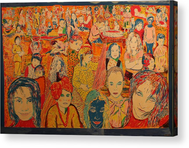 Acrylic Print featuring the painting Children of the world by Biagio Civale