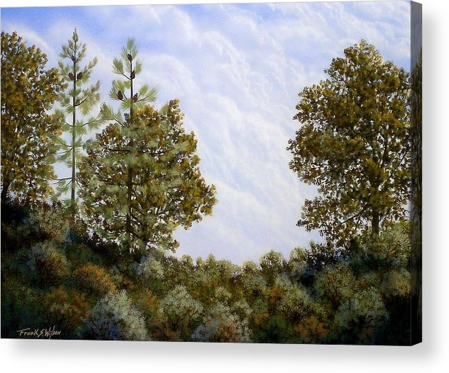 Landscape Acrylic Print featuring the painting Clouds In Foothills by Frank Wilson