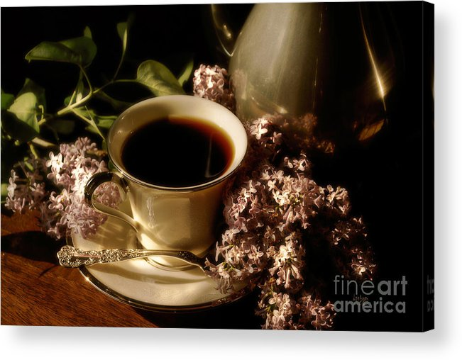 Coffee Acrylic Print featuring the photograph Coffee and Lilacs In The Morning by Lois Bryan