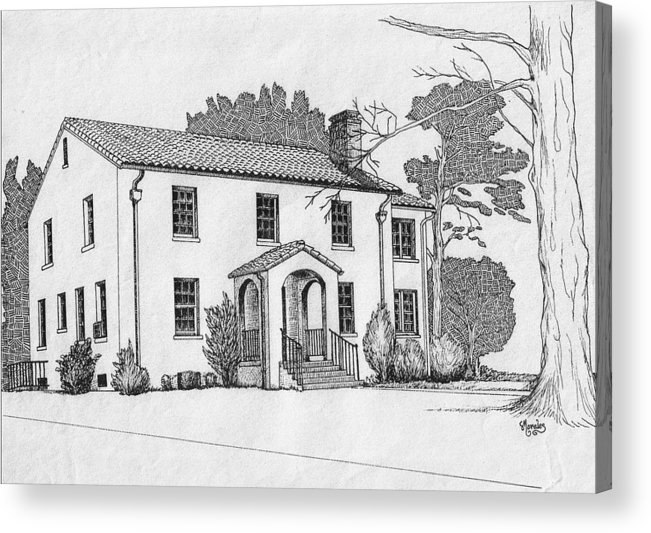 Drawing - Pen And Ink Acrylic Print featuring the drawing Colonel Quarters 2 - Fort Benning GA by Marco Morales
