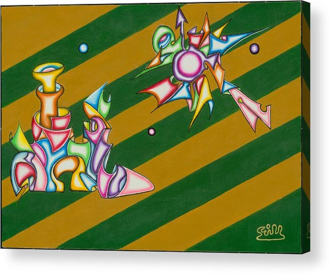 Fantasy Acrylic Print featuring the painting Cosmic Steamship by      Gillustrator