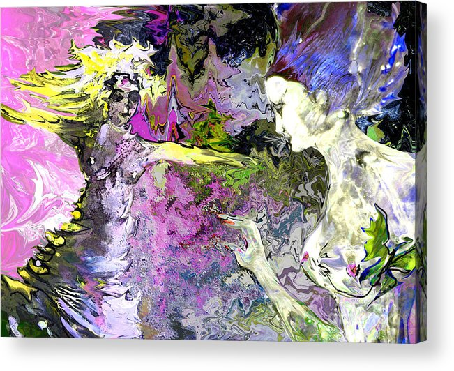 Miki Acrylic Print featuring the painting Dance in Violet by Miki De Goodaboom