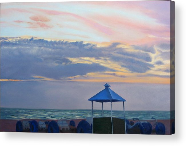 Sunset Acrylic Print featuring the painting Day Is Done by Lea Novak