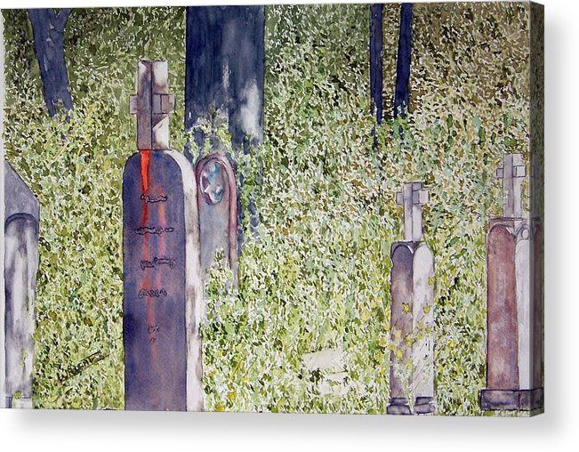 Cemeteries Acrylic Print featuring the painting Eternity In Hoonah by Larry Wright