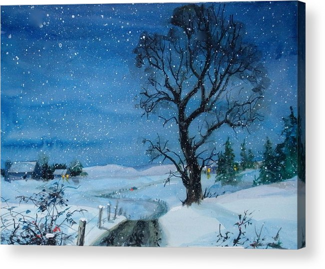 Snow Acrylic Print featuring the painting Evening Flurries by Faye Ziegler