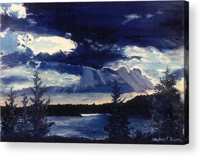 Landscape Acrylic Print featuring the painting Evening Lake by Steve Karol