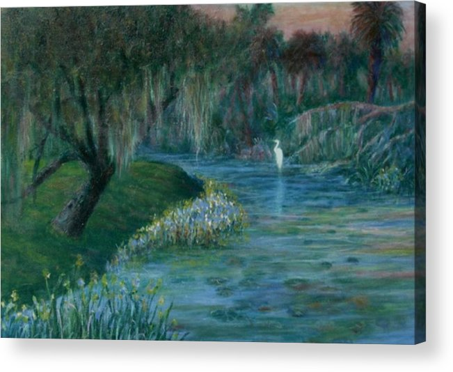 Low Country; Egrets; Lily Pads Acrylic Print featuring the painting Evening Shadows by Ben Kiger