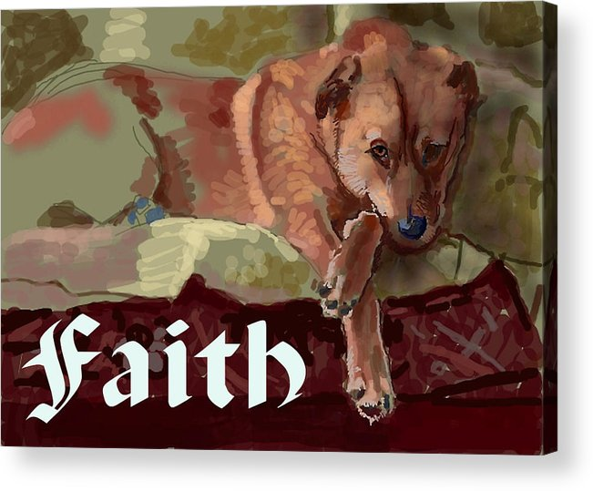 Greeting Acrylic Print featuring the mixed media Faith Card by Robert Bissett