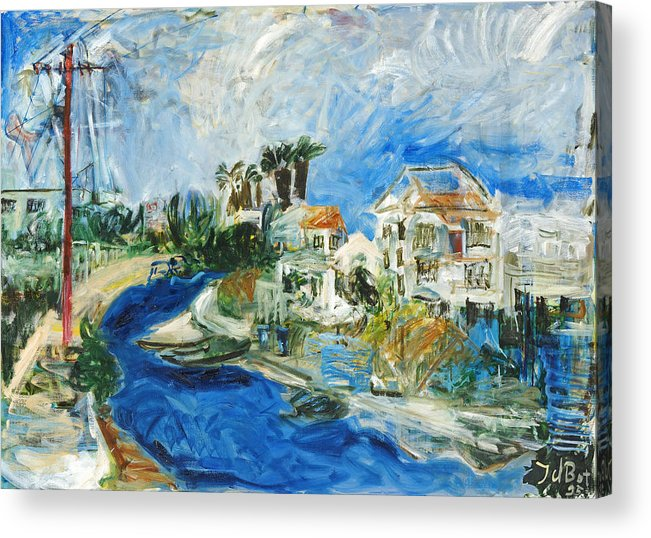 Town Houses Trees Palmtrees Street Blue Sky Acrylic Print featuring the painting Famagusta by Joan De Bot