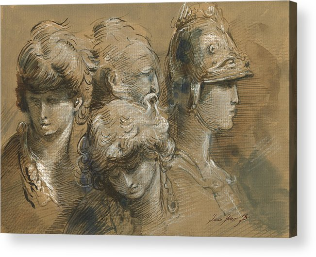 Classic Figures Acrylic Print featuring the painting Figures drawing by Juan Bosco