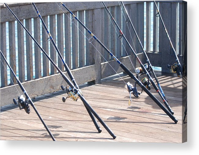 Pier Acrylic Print featuring the photograph Fishing Rods by Rob Hans