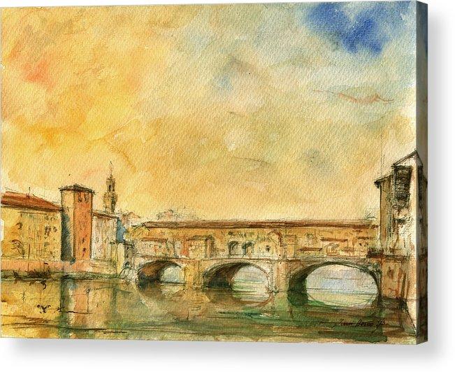 Ponte Vecchio Art Acrylic Print featuring the painting Florence Bridge Ponte Vecchio by Juan Bosco