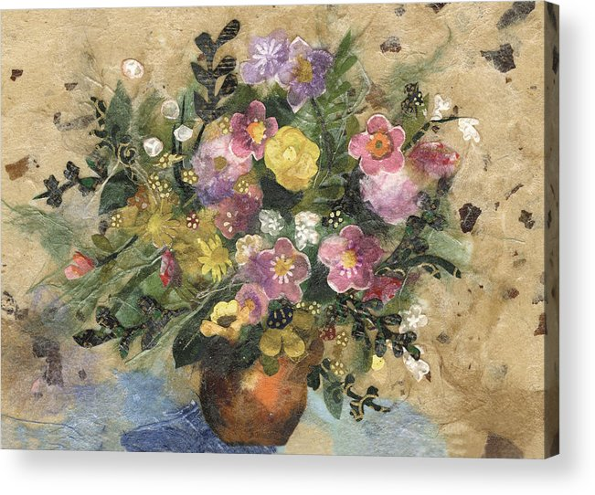 Limited Edition Prints Acrylic Print featuring the painting Flowers in a Clay Vase by Nira Schwartz