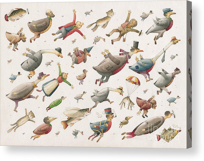 Sky Birds Flying Airplane Acrylic Print featuring the painting Flying by Kestutis Kasparavicius