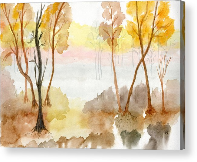 Landscape Florida Watercolor Trees Acrylic Print featuring the painting Foggy Suwannee by Warren Thompson