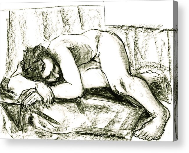 Male Nude Acrylic Print featuring the painting Getting Away From It by Dan Earle