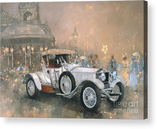 Seaside; Evening; Promenade; Car; Automobile; Rolls Royce; Vintage; Bandstand; Classic Cars; Vintage Cars; Nostalgia; Resort; Old Timer ; Scarborough Acrylic Print featuring the painting Ghost in Scarborough by Peter Miller