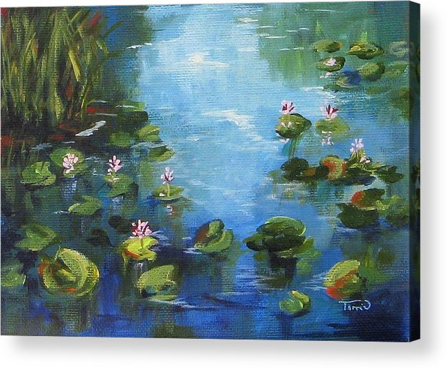 Giverny Acrylic Print featuring the painting Giverny Lily Pond by Torrie Smiley
