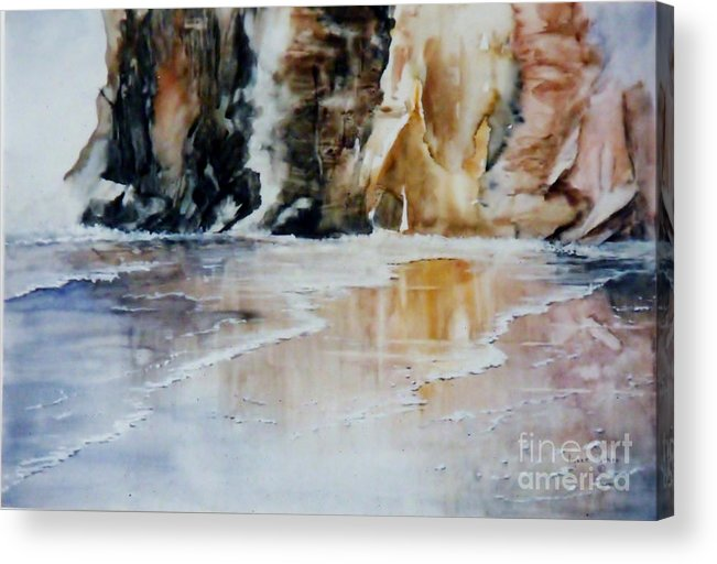 Seascape Acrylic Print featuring the painting Golden Seascape by Lynne Parker