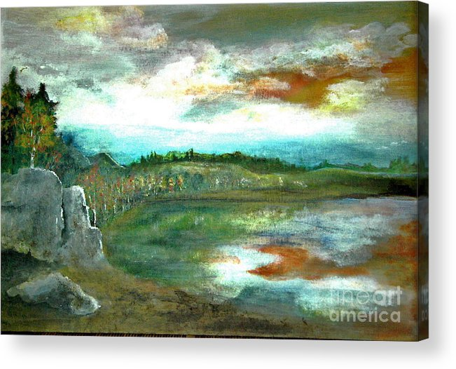 Landscape Acrylic Print featuring the painting Gravel Pit Overgrown by Vi Mosley