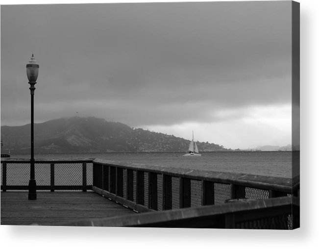Water Acrylic Print featuring the photograph Gray over the bay by Brian Anderson