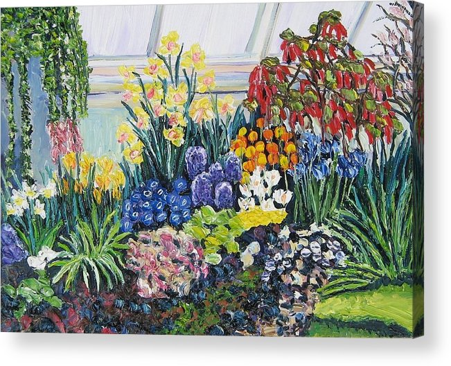 Flowers Acrylic Print featuring the painting Greenhouse Flowers With Blue And Red by Richard Nowak