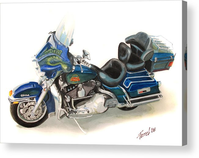 Motorcycle Acrylic Print featuring the painting Harley Electraglyde by Ferrel Cordle