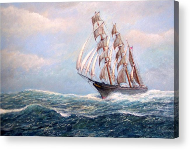 Tall Ships. Marine Art Acrylic Print featuring the painting Headin' Home by William H RaVell III
