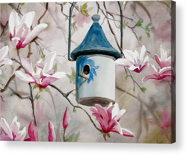 Birdhouse Acrylic Print featuring the painting Heavenly Home by Faye Ziegler