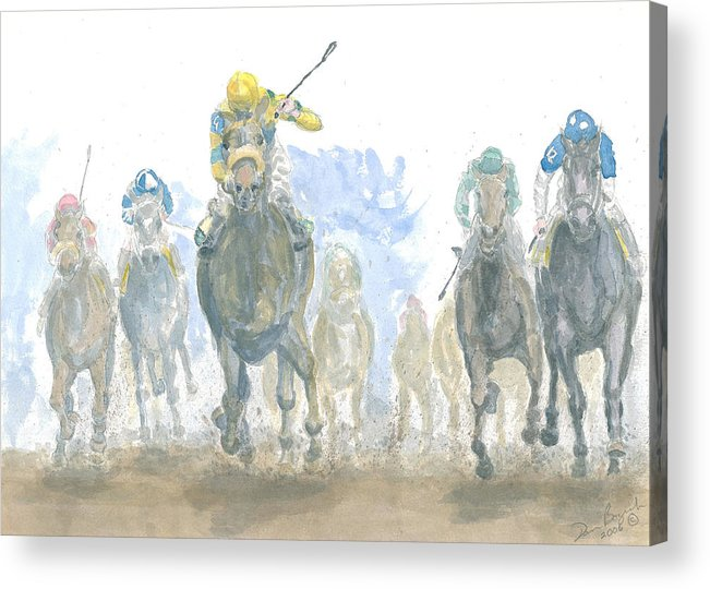 Horse Race Acrylic Print featuring the painting Homestretch by Dan Bozich