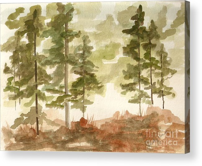 Trees Acrylic Print featuring the painting In the Trees by Jackie Mueller-Jones