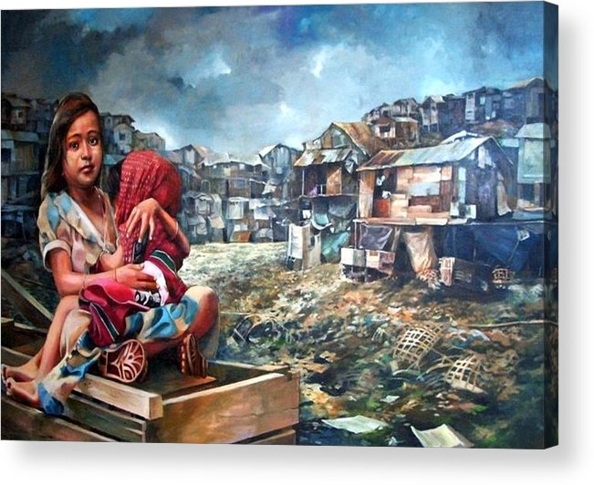 Poverty In Philippines Acrylic Print featuring the painting Indigent Life by Bong Perez