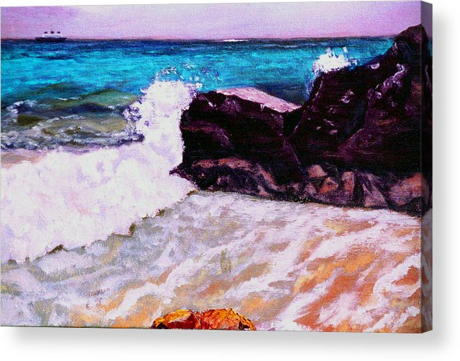 Ocean Acrylic Print featuring the painting Island Cruise by Stan Hamilton