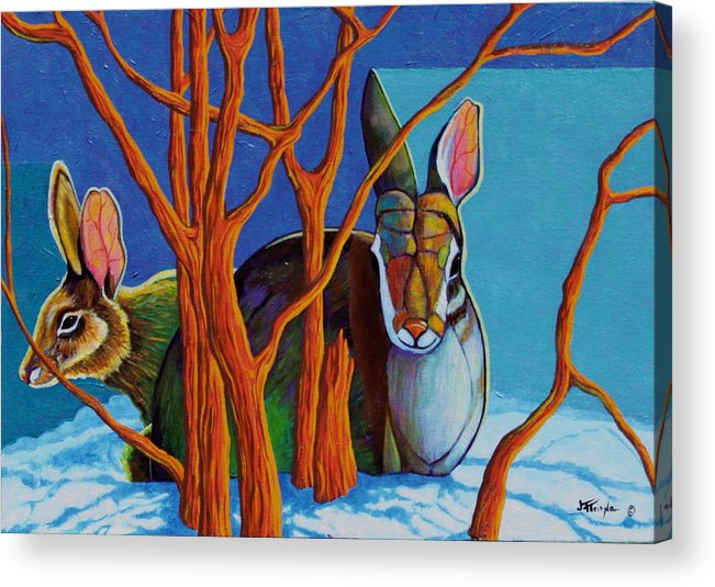 Wildlife Acrylic Print featuring the painting I've Got Your Back by Joe Triano